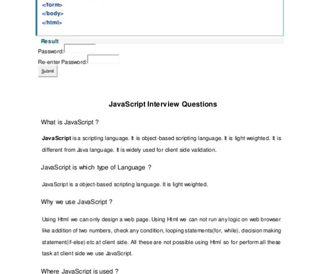 Result Password Re Enter Password Submit Javascript Interview Questions What Is Javascript Javascript Is A Scripting