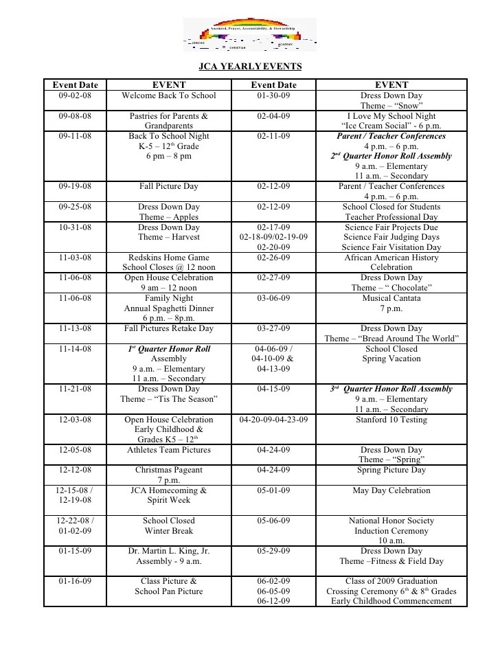 JCA Yearly Events Calendar 08 09