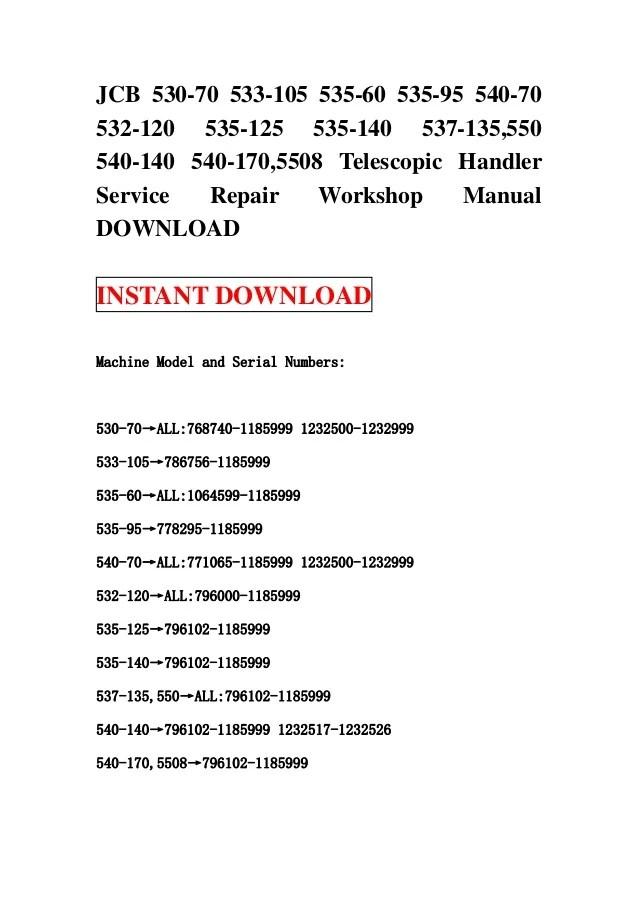 Jcb 530 70 533105 53560 53595 54070 532120 535125