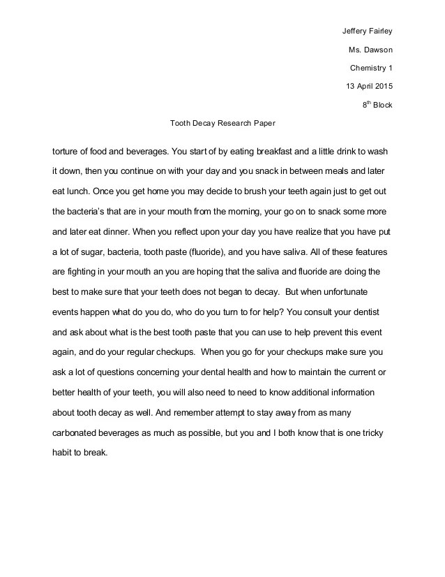 Science Fair Research Paper Tooth Decay