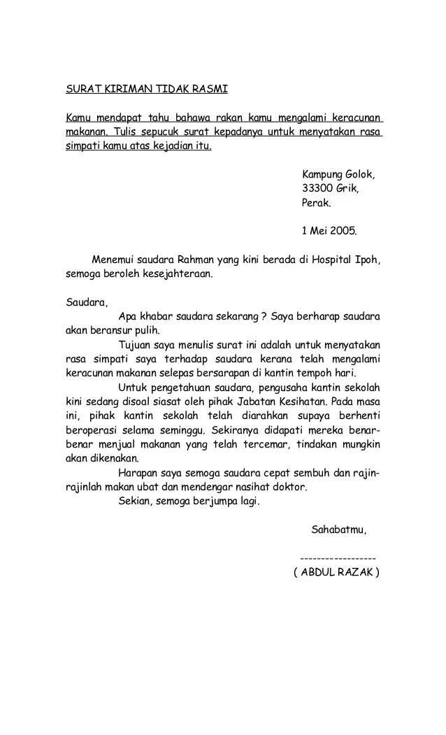 Contoh Karangan Surat Kiriman Tidak Rasmi Kepada Rakan Spm Cute766
