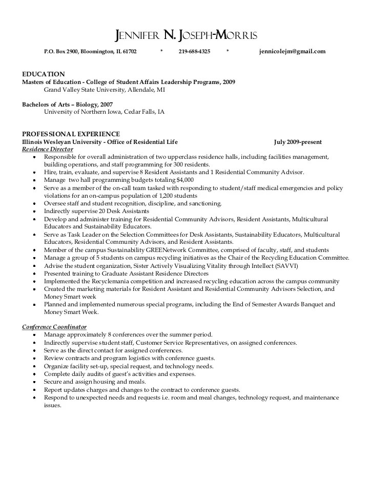 resident assistant resume examples