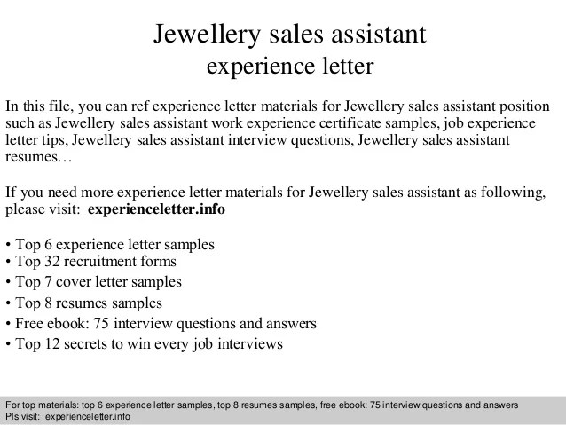 Jewellery sales assistant experience letter