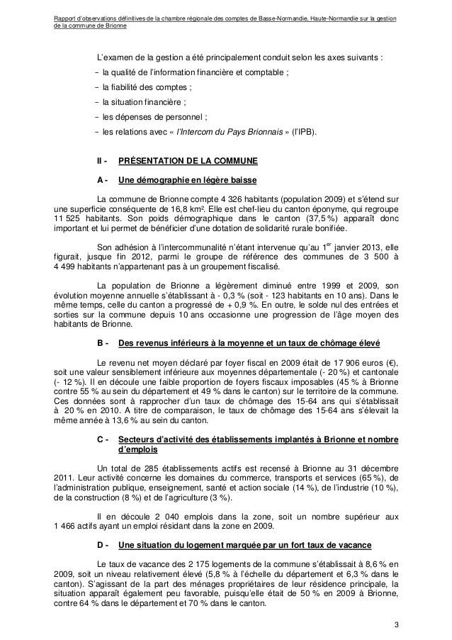Rapport dfinitif de la Chambre rgionale des comptes sur la gestion