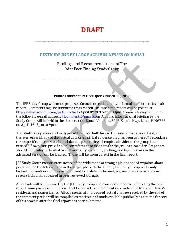 Kauai Pesticides Joint Fact Finding Full Report Draft 3102016