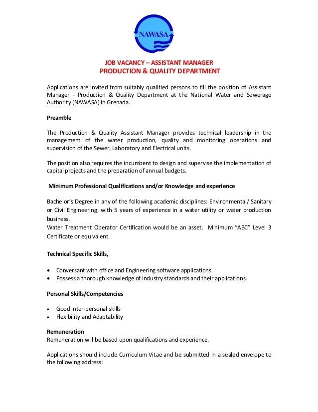 Nawasa Job Vacancy  ASSISTANT MANAGER PRODUCTION