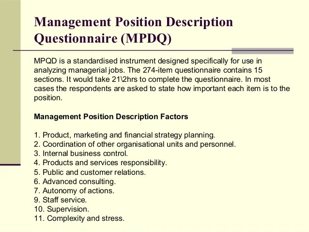job questionnaire sample