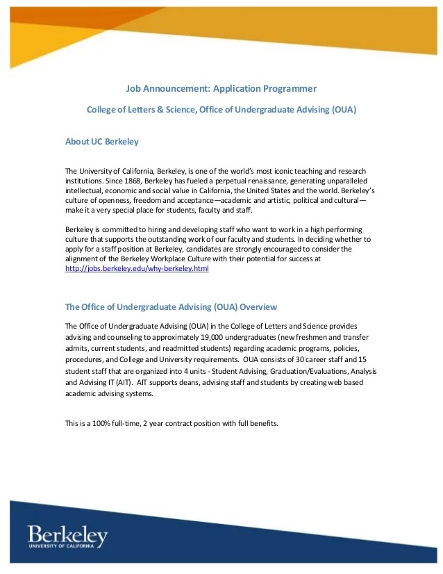 Hot Jobs: Application Programmer for UC Berkeley's College of Letters…
