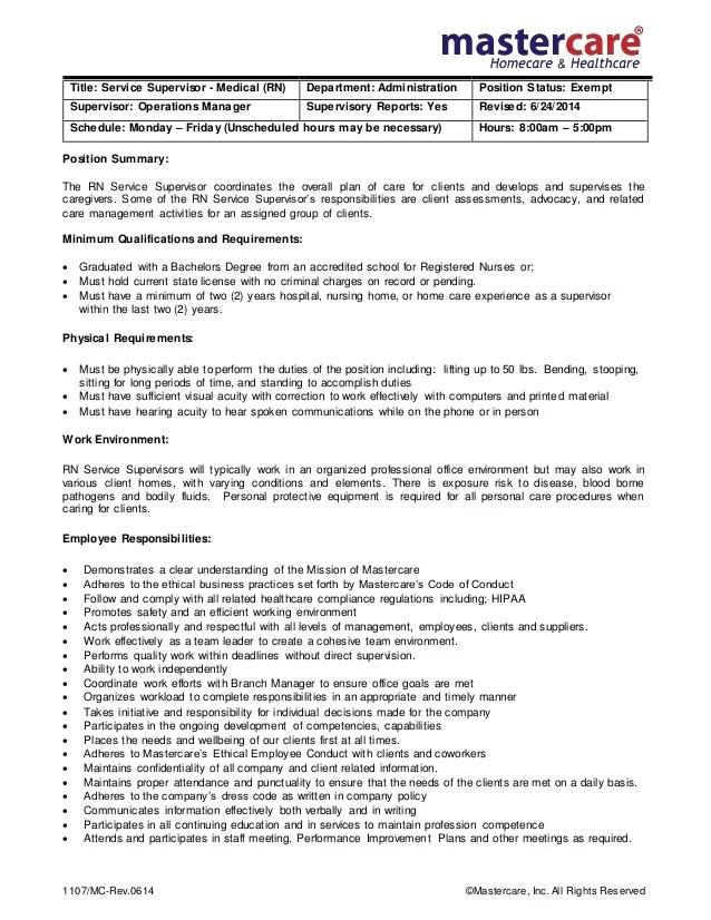 Job description rn supervisor