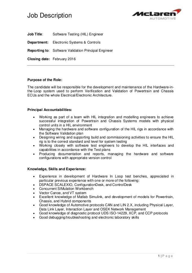 Job Description 14061 Software Testing HIL Engineer