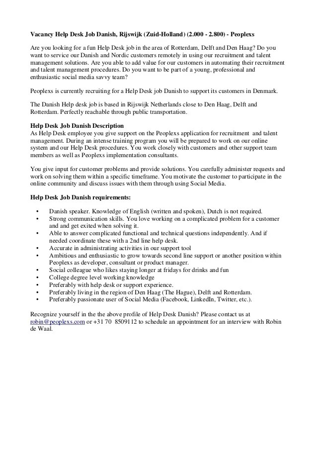 Service Desk Job Description  Hostgarcia