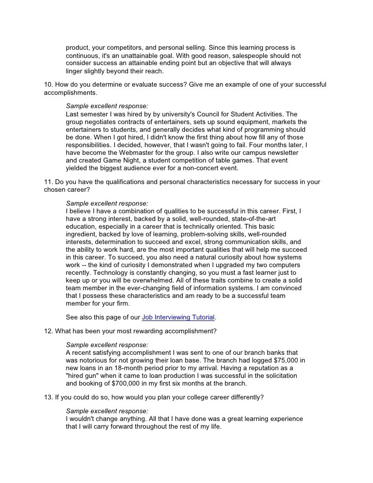 example of interview questions in a research paper