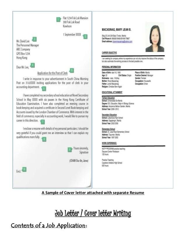 Job letter  resume writing