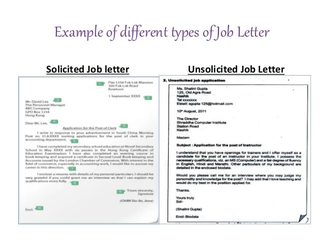 solicited letter of application definition