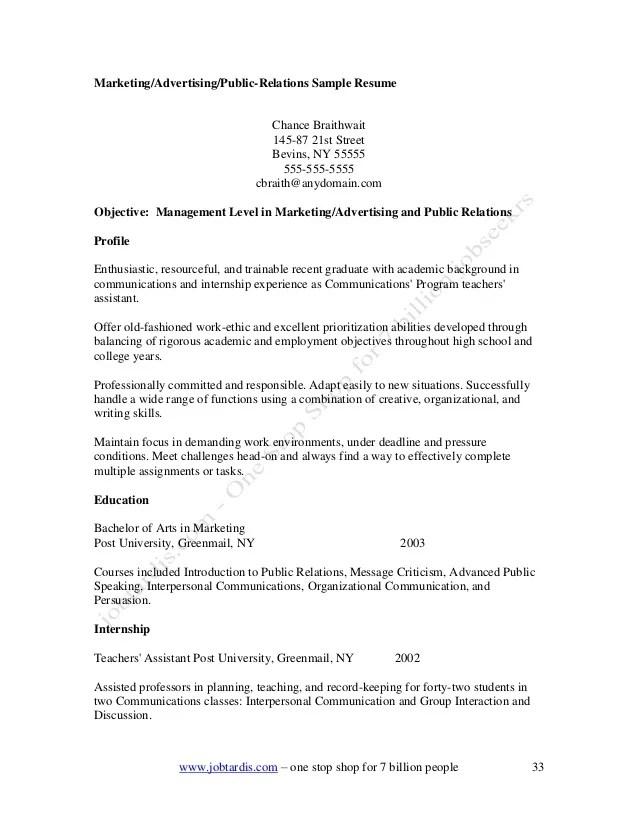 Sample marketing advertising public relations resume  definekryptonitexfc2com