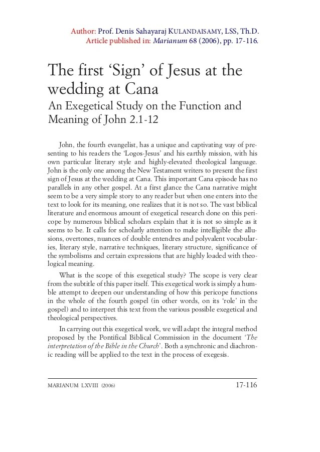 Exegesis John 2 1 12 Wedding At Cana