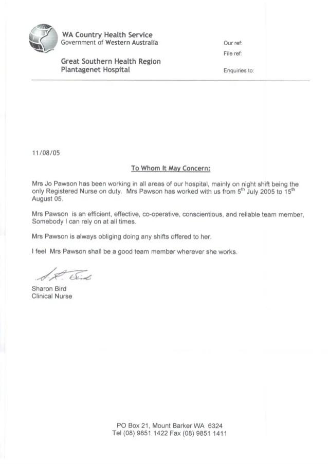 Reference letter from Plantagenet Hospital 2005