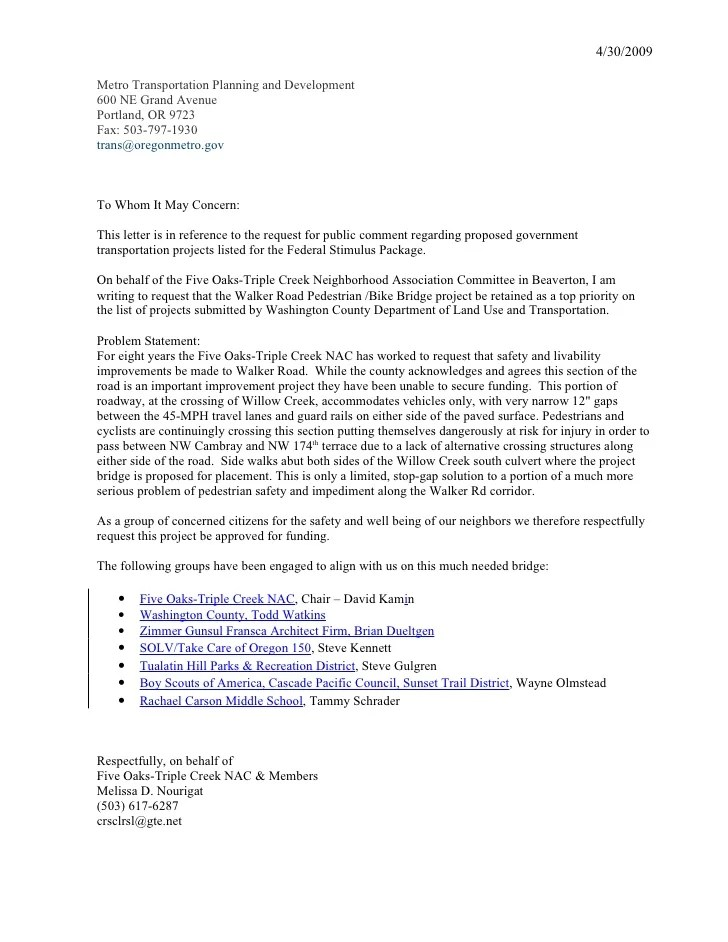 Jpact Federal Stimulus Transportation Project Request For