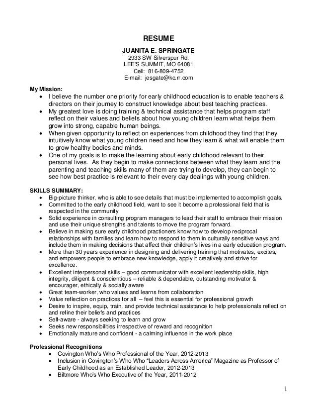 early childhood assistant resume samples