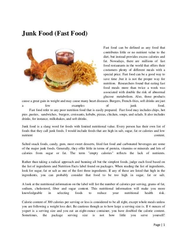 Essay Fast Food Junk Food Essay Conclusion Essay Fast Food Purpose