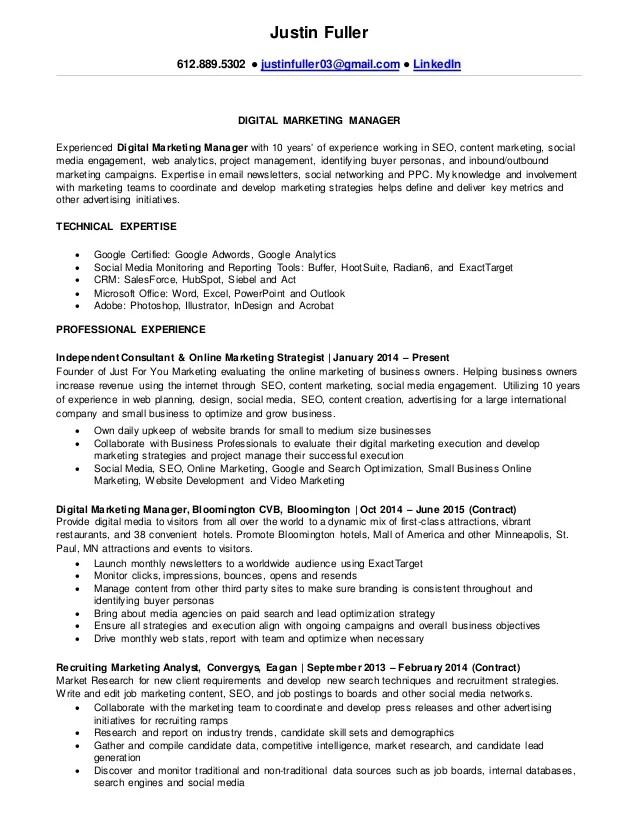 Justin Fuller's Resume Digital Marketing Manager
