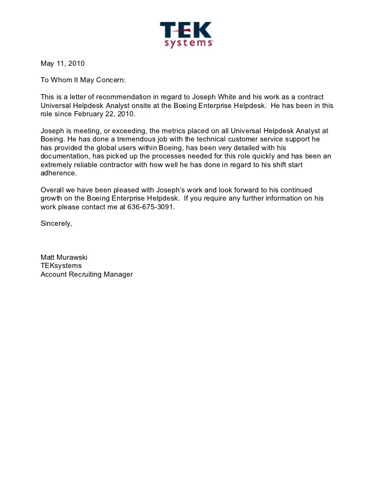 Tek Systems Recommendation Letter