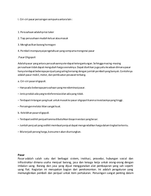 Ciri-ciri Pasar : ciri-ciri, pasar, Karakteristik, Pasar