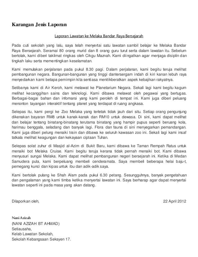 Contoh Karangan Laporan Lawatan Ke Kilang Coklat Blogefeller Cute766