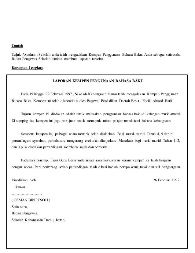 Contoh Soalan Karangan Laporan Pt3 Contoh Nyah Cute766