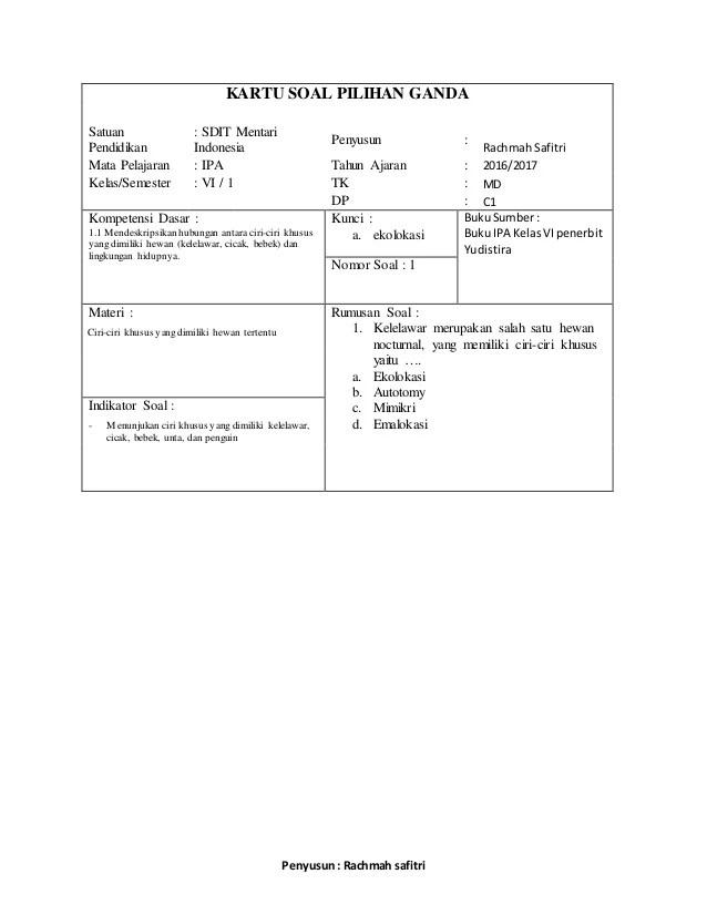 Contoh Kartu Soal : contoh, kartu, Kartu, Pilihan, Ganda, Uraian, Kelas