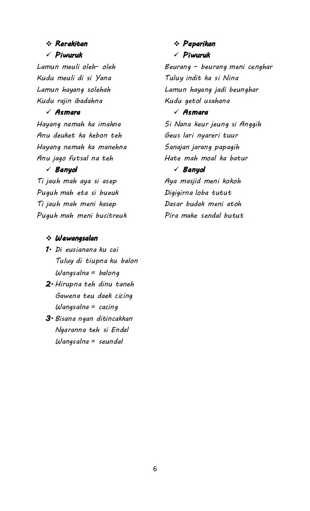 Sisindiran Bahasa Sunda : sisindiran, bahasa, sunda, Contoh, Sisindiran, Paparikan, Rarakitan, Wawangsalan, Bahasa, Sunda, Dapatkan, Cute766