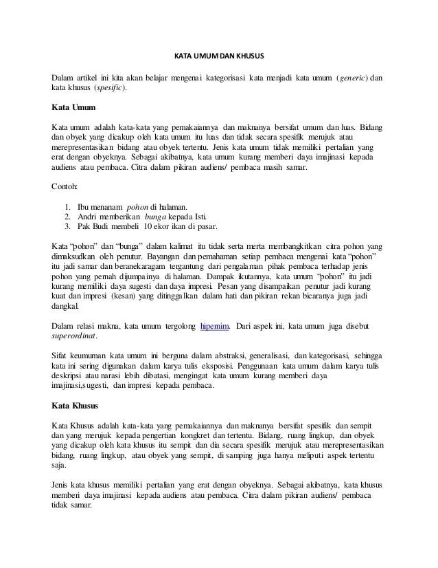 Contoh Kata Umum (Hipernim) dan Kata Khusus (Hiponim)