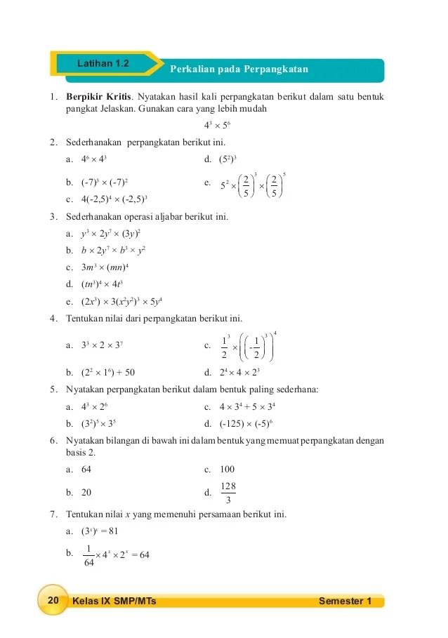 Sederhanakan Perpangkatan Berikut Ini Latihan 1.2 Kelas 9 : sederhanakan, perpangkatan, berikut, latihan, kelas, Siswa, Kelas