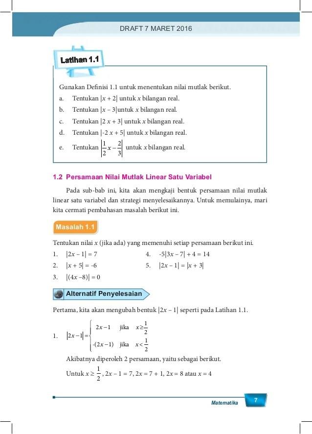Menentukan Nilai Mutlak : menentukan, nilai, mutlak, Kelas, Matematika, Wajib