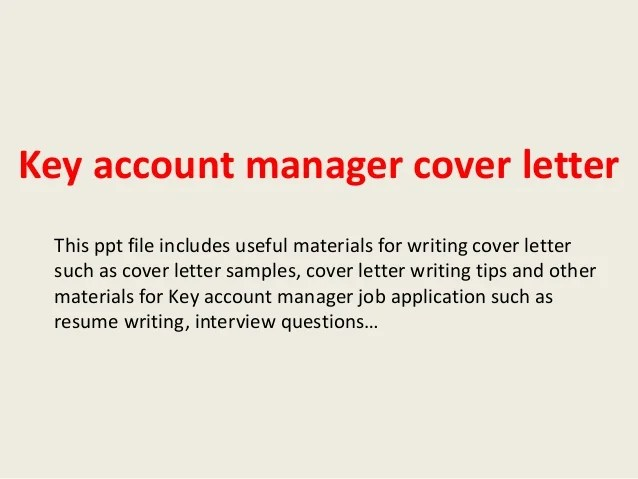 Key Account Manager Cover Letter