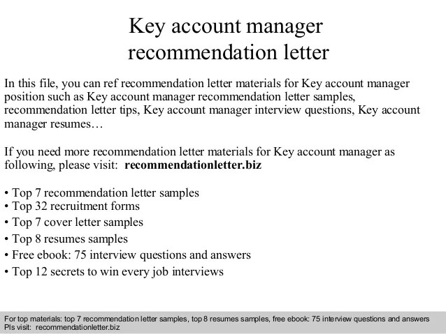 Cover Letter Key Account Manager Experience Resumes Key Account
