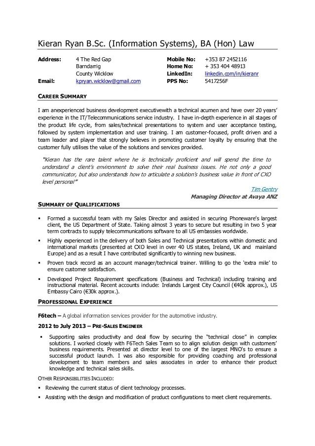Technical Sales Consultant Sample Resume Unforgettable Sales