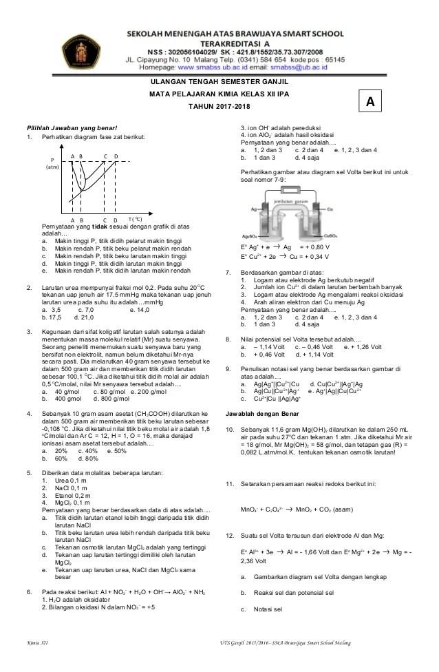 Soal Kimia Kelas 12 : kimia, kelas, GAnjil, Kimia, Kelas