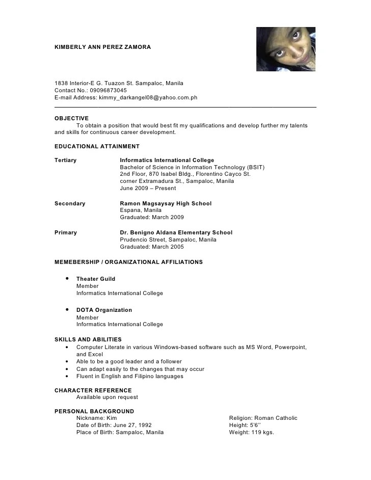 character references sample resume