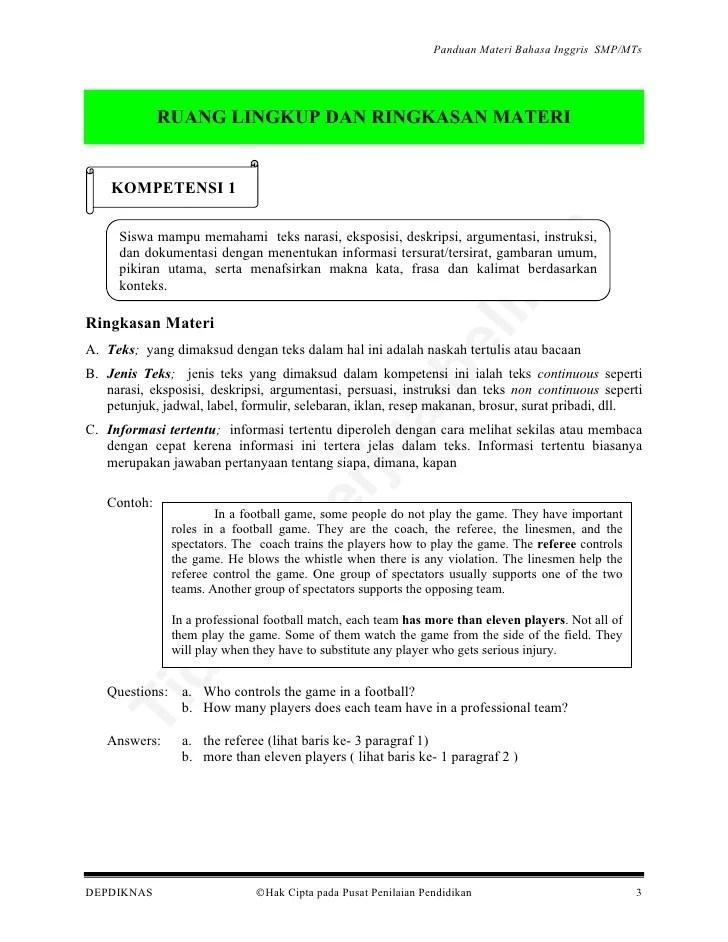 Kisi Soal Bahasa Inggris Unsmp