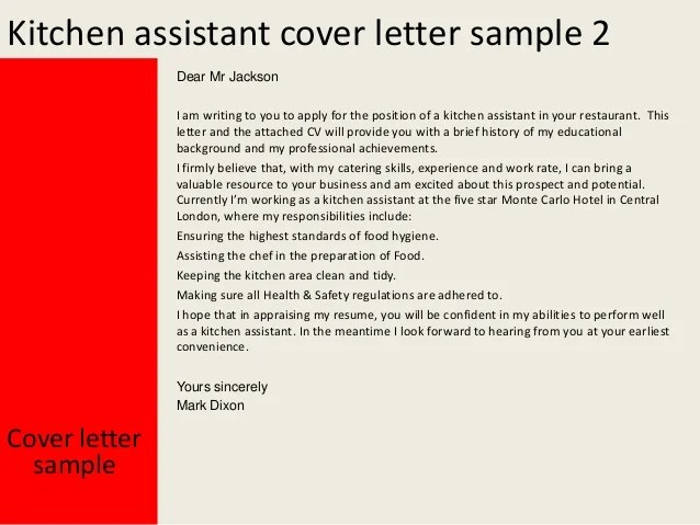 Kitchen Assistant Cover Letter