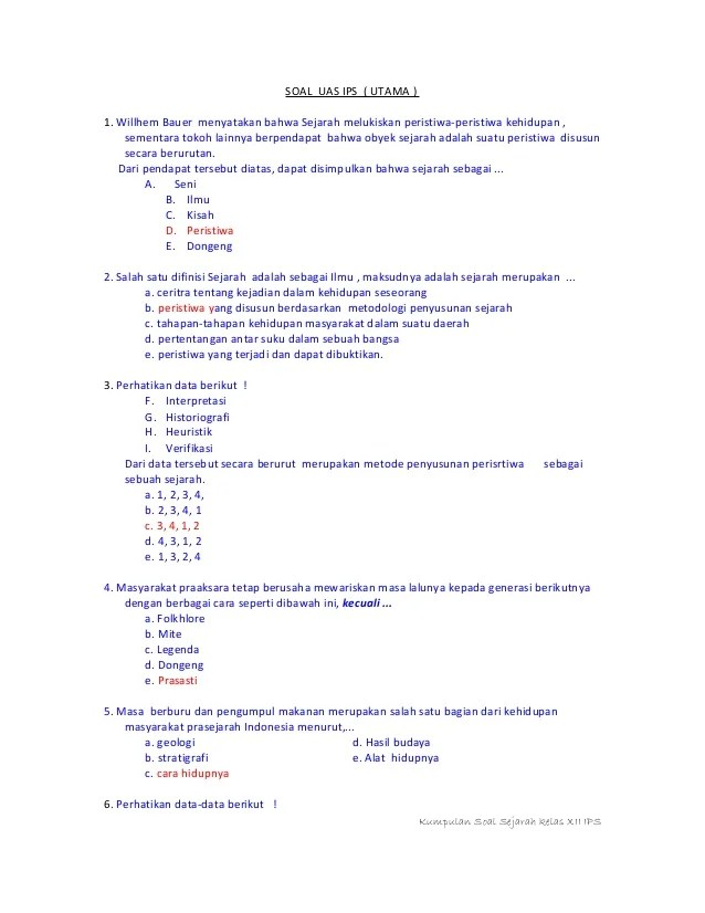 Soal Sejarah Peminatan Kelas Xi Ips Semester 1 Beserta Jawabannya : sejarah, peminatan, kelas, semester, beserta, jawabannya, Kunci, Jawaban, Sejarah, Kelas, Pelajaranku.my.id