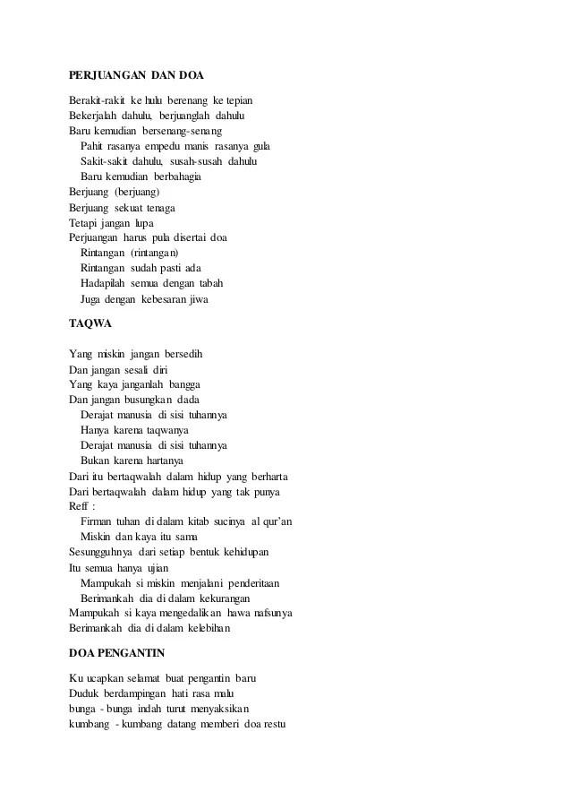 Lirik Lagu Perjuangan Dan Doa : lirik, perjuangan, Kumpulan, Lirik
