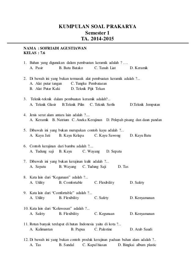 Soal Prakarya Kelas 10 : prakarya, kelas, Kumpulan, Prakarya