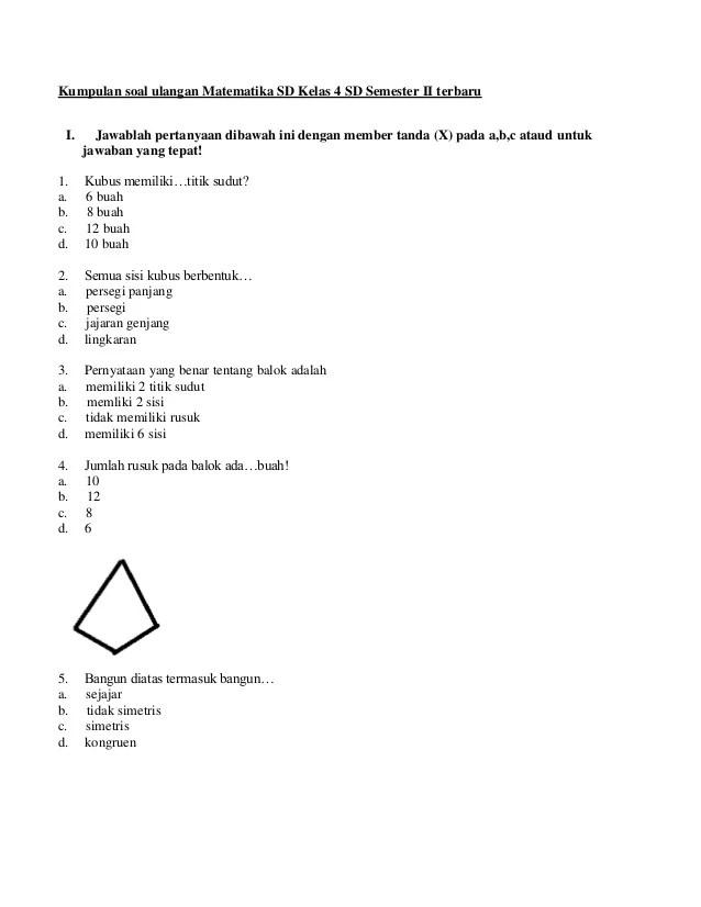 Soal Matematika Kelas 4 : matematika, kelas, Kumpulan, Ulangan, Matematika, Kelas, Semester, Terbaru