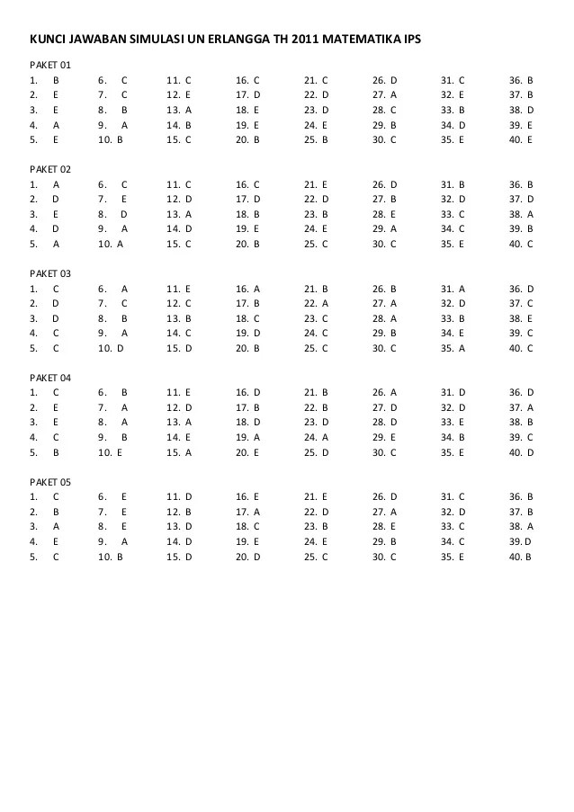 Kunci Jawaban Simulasi Un Erlangga Th 2011 Matematika Ips