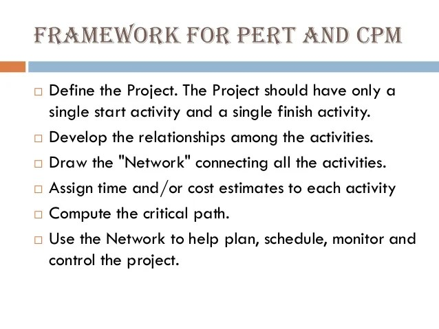 Lect 6&7 Network Diagrams PERT And CPM