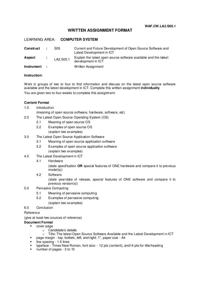 WRITTEN ASSIGNMENT FORMAT LA 2 0 COMPUTER SYSTEM