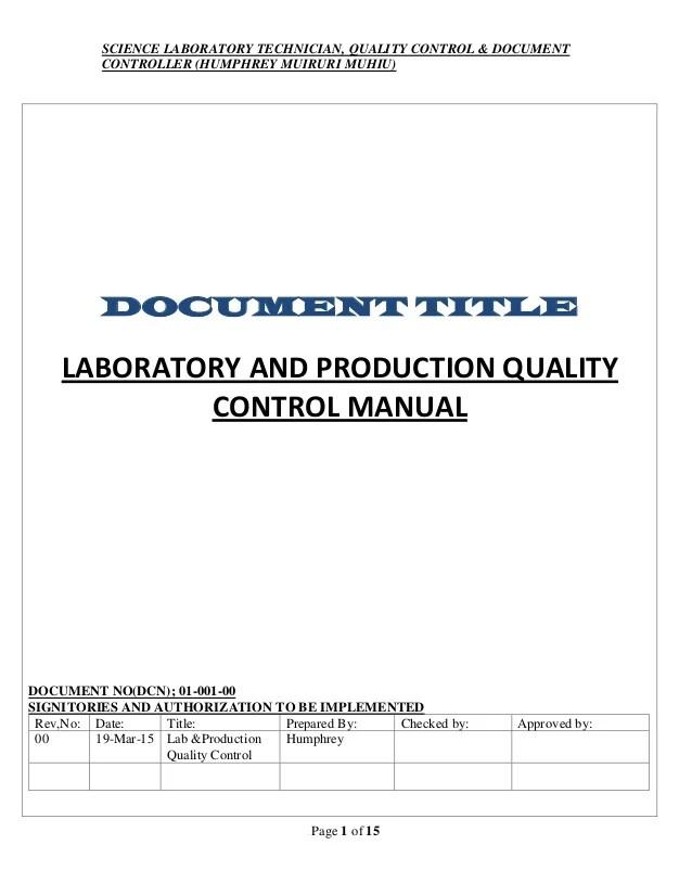 Labproduction quality control manual