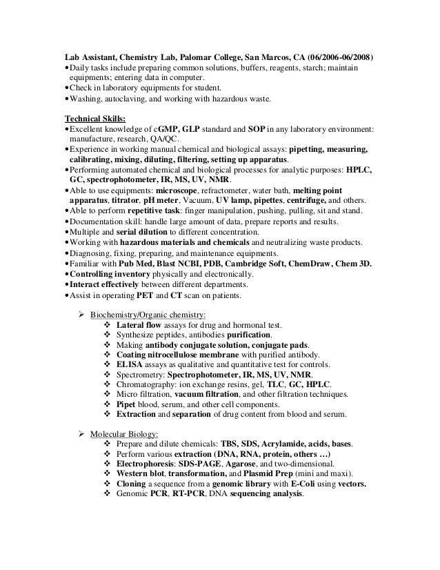 Lab Resume Examples